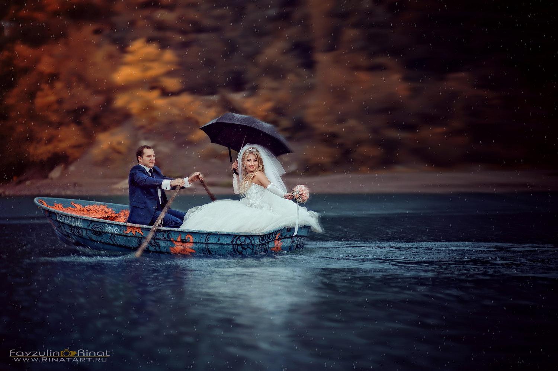 свадебная фото сессия на лодке